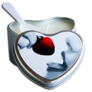 Strawberry Edible Massage Oil Heart Candle - 4 oz.