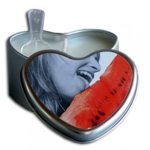 Watermelon Edible Massage Oil Heart Candle - 4 oz.