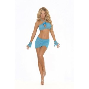 3-Piece Lace Cami Top Set - Turquoise - One Size