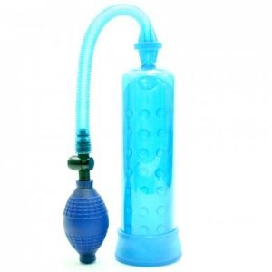 Male Power Pump With Grip - Blue