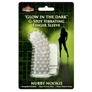 Glow-In-The-Dark Vibrating Nubby Nookie Finger Sleeve
