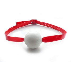Jawbreaker Ball Gag - Red PVC Strap