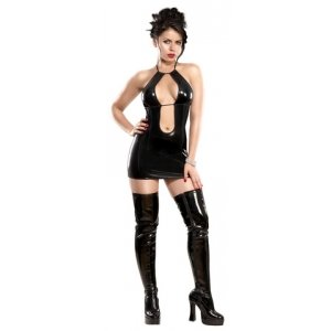 Double Keyhole Dress and G-String Black Small-Medium