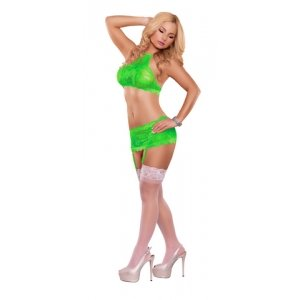 Crop Top Garter Skirt And G-String Set - Neon Lime