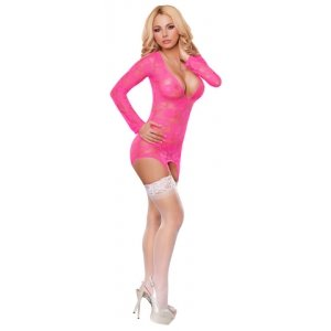 Merry Widow Dress And G-String Set - Neon Pink