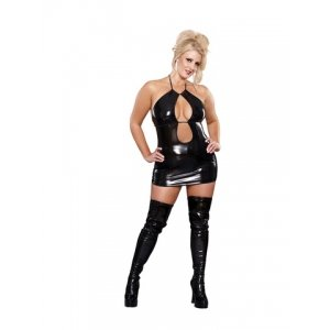 Double Keyhole Dress and G-String Black-Queen Size
