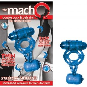 The Macho Double Blue Cock and Balls Ring with Clitoral Tickler - Blue