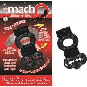 The Macho Collection Double Power Cock and Balls Ring- Black